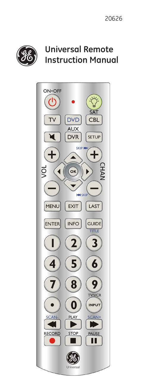 Remote Manual by Ge 20626 Ge Universal Remote User Manual 15 Pages
