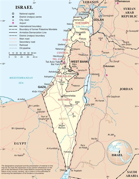 large detailed map  israel