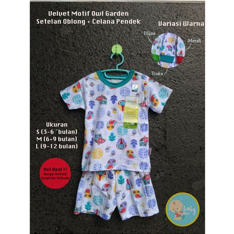 jual baju anak velvet junior setelan s m l pendek owl garden di lapak baby engineer babyengineer