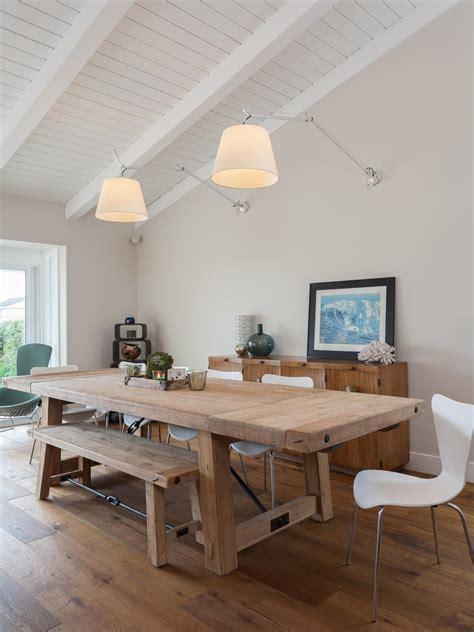 white coastal dining room  wood table hgtv