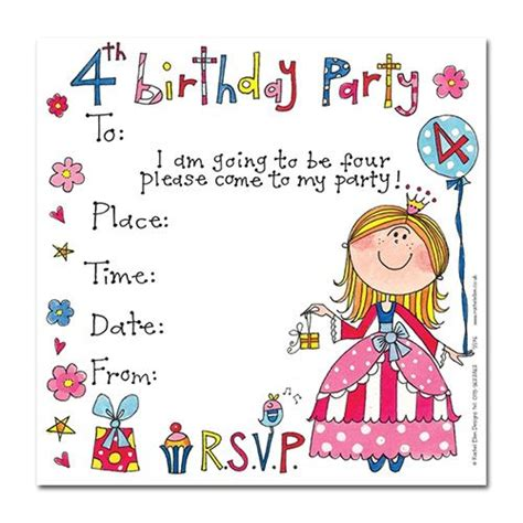 5th birthday invitation card template ark s 4th birthday princess invitation cards