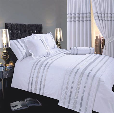Shimmer Cameo Silver Bed Runner  White Silver Colour