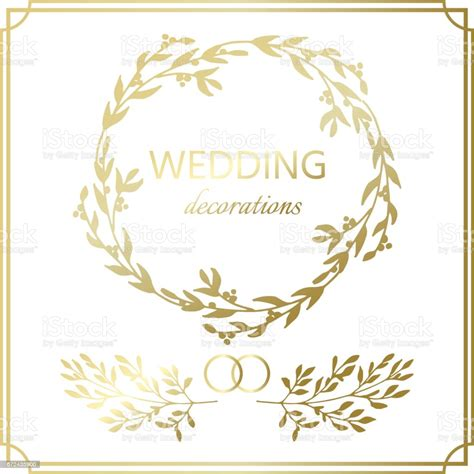 Wedding Decoration Border Hand Drawn Branch Vector
