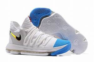2017 Nike KD 10 Basketball Shoes White Blue Gold - Cheap ...