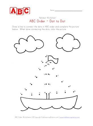 abc dot  dot boat worksheet    images abc