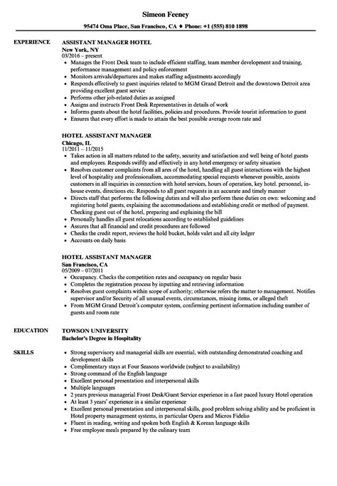 Hotel Assistant Manager Resume Samples | Velvet Jobs