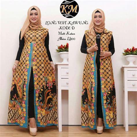 contoh baju batik wanita modern model dress batik terbaru