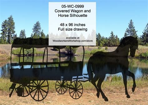wc  covered wagon  horse silhouette yard art