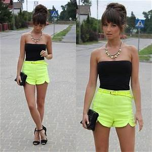 black tube top with bright yellow shorts ankle strap