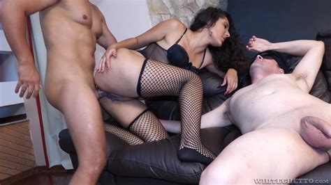 Milf In Sexy Stockings Hard Threesome Sex With Two Older