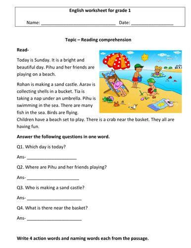 comprehension worksheets  grade   worksheets
