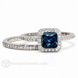London blue topaz engagement ring wedding band bridal set 14k for Blue topaz wedding ring sets