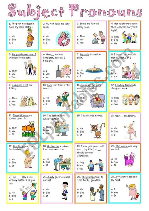 subject pronouns esl worksheet by sweetdreamja
