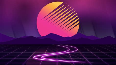 sunset neon artwork wallpapers hd wallpapers id