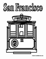 Cable Coloring San Francisco Colormegood Transportation sketch template