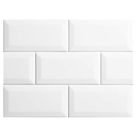 nori ceramic collection subway tile white gloss 3 quot x 6