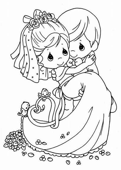 Coloring Pages Married Precious Moments Cartoon Congrats