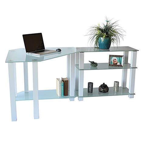glass corner computer desk rta frosted glass corner computer desk with right side