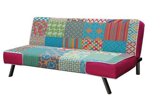 conforama canapé lit clic clac banquette clic clac en tissu patchwork vente de
