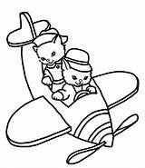 Cats Coloring Cat Pages Aircraft Kittens sketch template