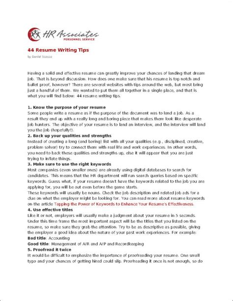 Tips For Resume Writing by 10 Commandments Of Resume Writing