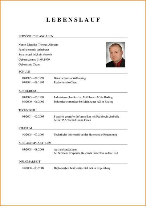 Beispiel Lebenslauf by Deutsche Curriculum Vitae Beispiel