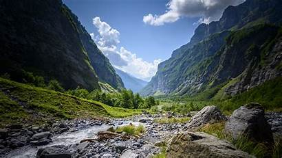 Mountains Rocks Bushes River 4k Uhd Background