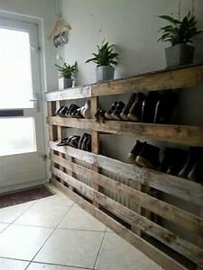 Idee Rangement Chaussure : rangement chaussures en palette ~ Teatrodelosmanantiales.com Idées de Décoration