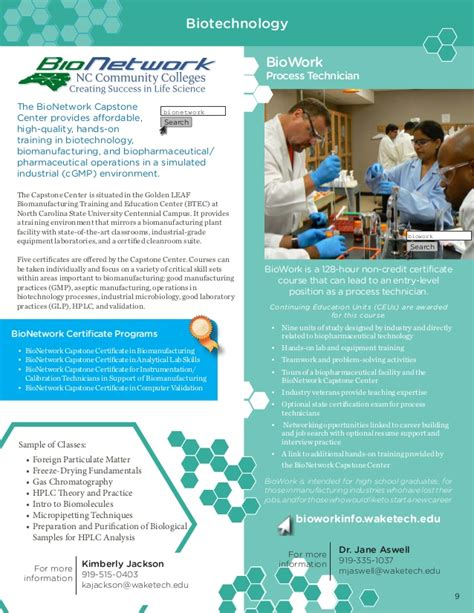 Biowork Process Technician Resume by Tech Continuing Education Course Digest Brochure