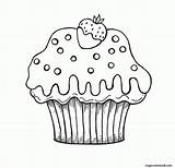 Coloring Muffin Cupcake Strawberry Popular sketch template