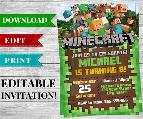 printable minecraft invitation  minecraft birthday