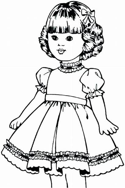 Coloring Pages Doll American Dolls Printable Paper