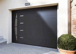 les portes de garage motorisees solabaie personnalisables With porte de garage enroulable et porte interieur gris anthracite