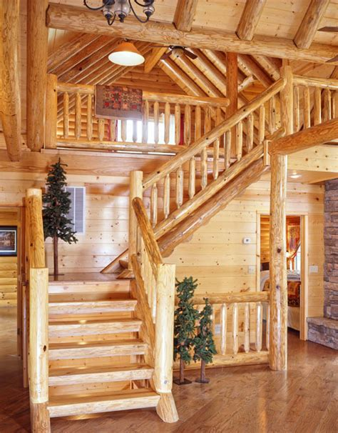 L-shaped Rustic Log Staircase