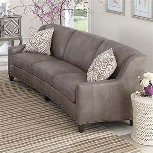 Slightly curved sofa with sloping track arms and nail head for Curved sectional sofa amazon