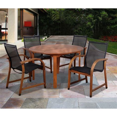 patio dining furniture amazonia bahamas eucalyptus wood 5 patio