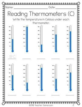 reading thermometers worksheet by gameroom tpt