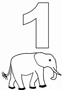 Number One And Elephant Coloring Page NetArt
