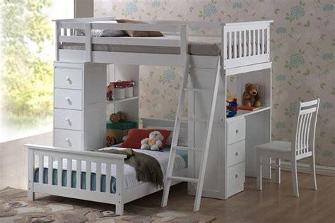 bureau loft lit superposé avec bureau de travail et rangement intégré