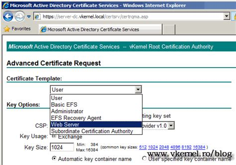 Active Directory Certificate Templates by Microsoft Active Directory Certificate Services Template