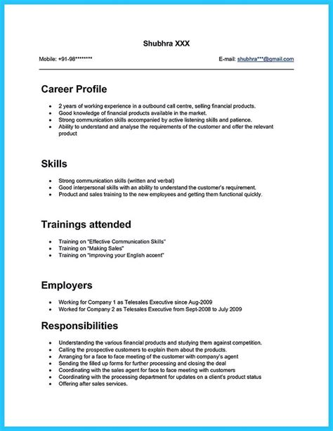 Resume Format For Call Center by What Will You Do To Make The Best Call Center Resume So