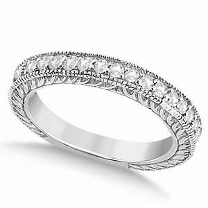 Vintage Style Filigree Diamond Wedding Band Platinum 0