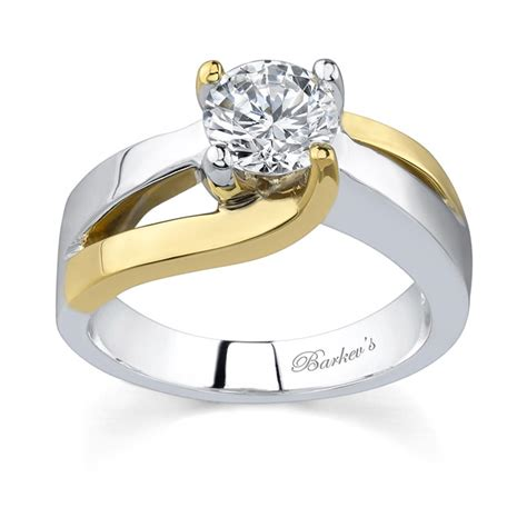 Barkev's Two Tone Solitaire Engagement Ring  6819lw. Mismatched Wedding Rings. Interesting Wedding Wedding Rings. Tennis Wedding Rings. Inscribed Engagement Rings
