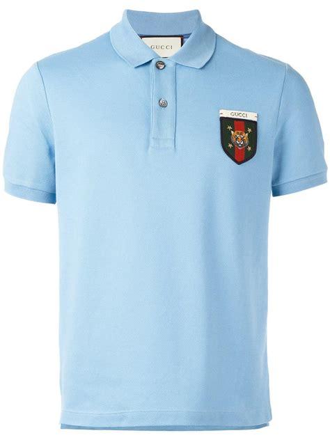 lyst gucci web crest polo shirt  blue  men