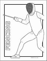 Fencing Coloring Sport Abcteach sketch template