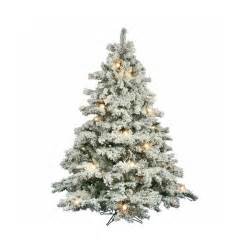 shop vickerman 6 5 ft pre lit alaskan pine flocked artificial tree with white clear