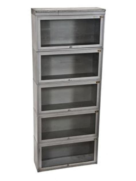 barrister bookcases with glass doors c 1940 39 s stackable five unit barrister steel bookcase