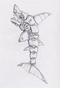 Mechanical Shark Drawing