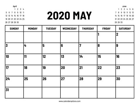 May 2020 Calendar with Events