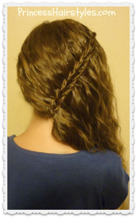 side swept braided scissor waterfall hairstyle